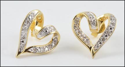 Pave' Heart Earrings in 14K Yellow Gold