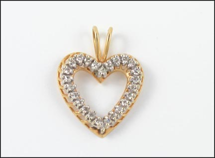 Diamond Heart Pendant in 14K Yellow Gold_LARGE