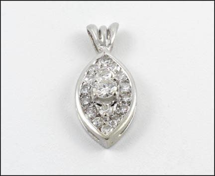 Pave' Pendant in 14K White Gold
