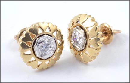 Round Brilliant Cut Center Diamond Heart Earrings in 10K Yellow Gold LARGE