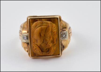 Tiger Eye Carved Men's Ring in 10K Yellow Gold