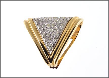 "Pave' ""V"" Pendant Enhancer in Yellow Gold"