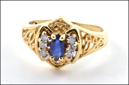 Marquise Cut Sapphire and Diamond Ring in 14K Yellow Gold LARGE
