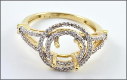 Pave' Semi-Mount Ring in 14K Yellow Gold