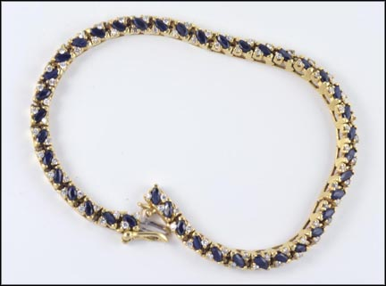 Sapphire and Diamond Bracelet in 14K Yellow Gold