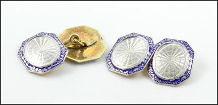 1920-30 Enamel Cufflinks in White Gold