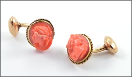 Carved Coral Cufflinks in Yellow Gold LARGE