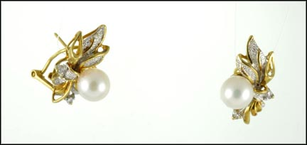 7 mm Pearl and Diamond Omega Back Earrings in 14K Yellow Gold LARGE