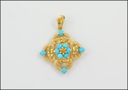 Citrine and Turquoise Pendant in 14K Yellow Gold