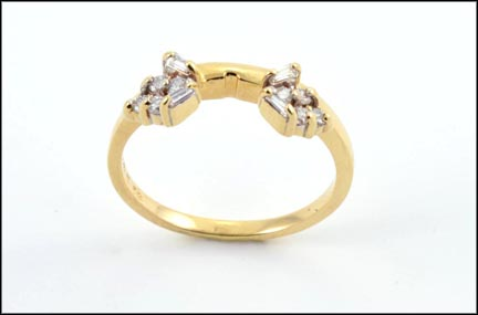 Round and Baguette Wrap Ring in 14K Yellow Gold