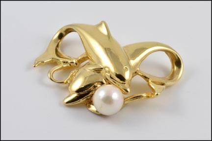 Two Dolphin Pearl Pendant Enhancer in 14K Yellow Gold