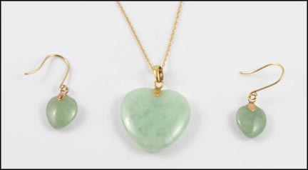 Heart Jade Pendant and Earrings in 10K Yellow Gold