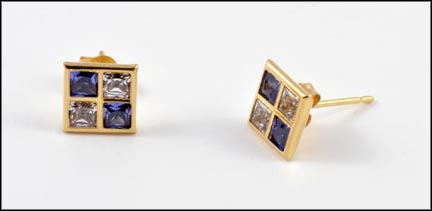 Blue and White Square Synthetic Earrings in 14K Yellow Gold
