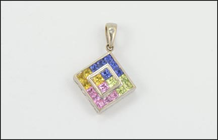 Multi Color Square Synthetic Pendant in 10K White Gold