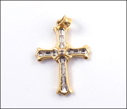 Diamond Cross Pendant in 10K Yellow Gold LARGE