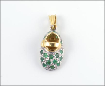 Emerald Pave' Shoe Charm in 14K Yellow Gold LARGE