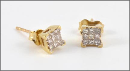 Invisible Set Diamond Earrings in 14K Yellow Gold_LARGE