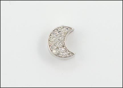 Pave' Moon Pendant in 14K White Gold