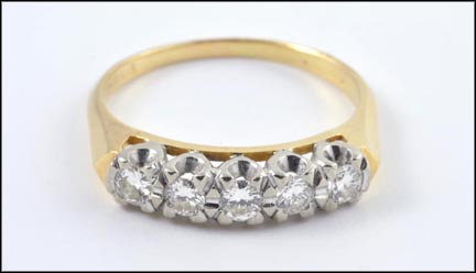 Round Brilliant Cut Five-Stone Band in 14K White and Yellow Gold