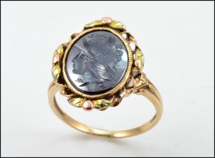 Hematite Intaglio Ring 1920-30's in Yellow Gold LARGE