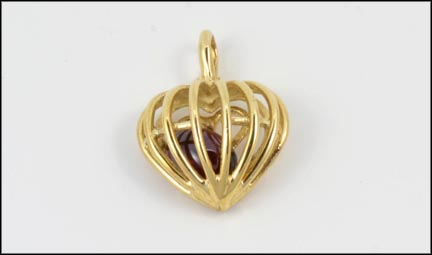 Tourmaline Heart Cage Pendant in 10K Yellow Gold