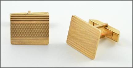 Square Patterned Cufflinks in 14K Yellow Gold