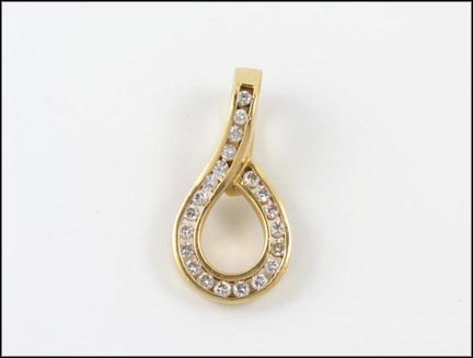 Channel Set Pendant Enhancer in Yellow Gold