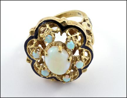 Opal Cluster with Enamel Ring in 14K Yellow Gold