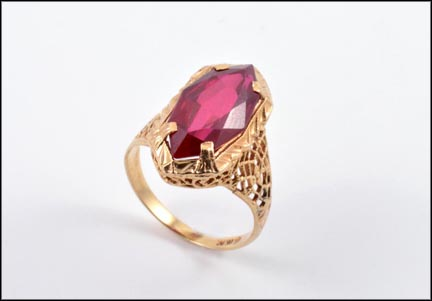 Marquise Cut Synthetic Ruby Ring in 10K Yellow Gold