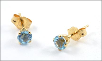 Blue Zircon Stud Earrings in Yellow Gold LARGE