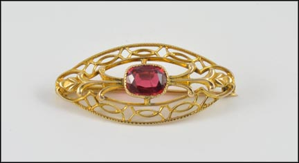Tourmaline Brooch 1915-25 in 10K Yellow Gold