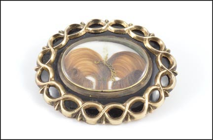 Victorian 1860-70's Hair Brooch in Yellow Gold