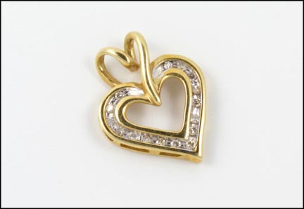 Channel Set Heart Pendant in 10K Yellow Gold
