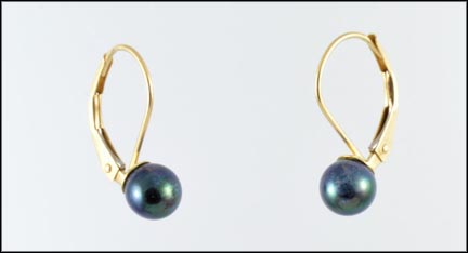 5 mm Pearl Leverback Earrings in 14K Yellow Gold