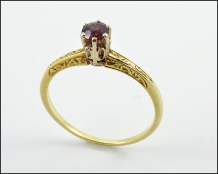 Round Garnet Solitaire Ring in 14K Yellow Gold