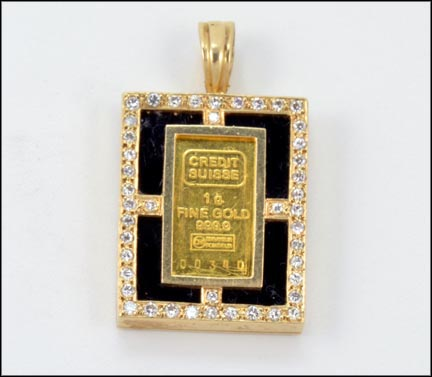 1 Gram Gold Bar Pendant in 14K Yellow Gold