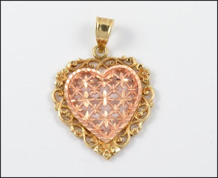 Openwork Heart Pendant in 14K Yellow and Rose Gold