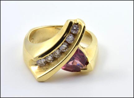 Trillion Tourmaline Ring in 14K Yellow Gold