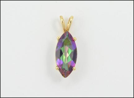 Marquise Cut Mystic Topaz Pendant in 14K Yellow Gold