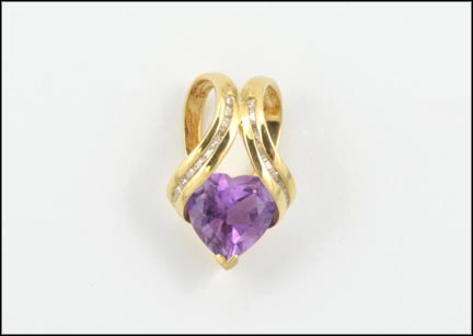 Trillion Amethyst Pendant in 10K Yellow Gold