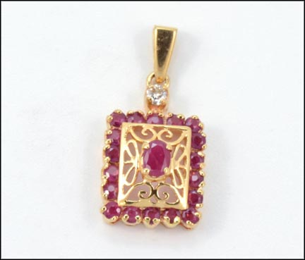 Ruby Pendant in 14K Yellow Gold