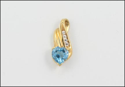 Heart Shape Blue Topaz Pendant in 10K Yellow Gold