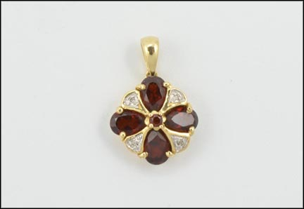 Pear Shaped Garnets Pendant in 10K Yellow Gold