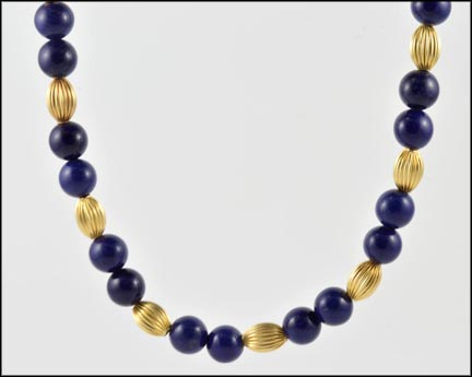 Lapis and Gold Bead Necklace in 14K Yellow Gold
