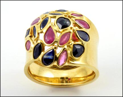 Ruby and Sapphire Floral Ring in 14K Yellow Gold