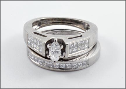 Marquise and Square Cut Diamond Bridal Set in 14K White Gold LARGE