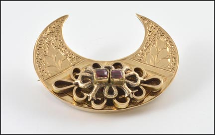 Garnet Crescent Brooch in Yellow Gold