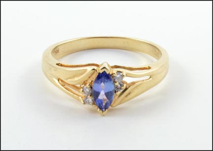 Marquise Cut Tanzanite and Diamond Ring in 14K Yellow Gold LARGE