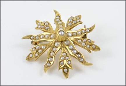 1890's Seed Pearl Pendant or Brooch in 14K Yellow Gold