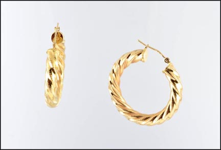 Swirl Large Hoop Earrings in 14K Yellow Gold